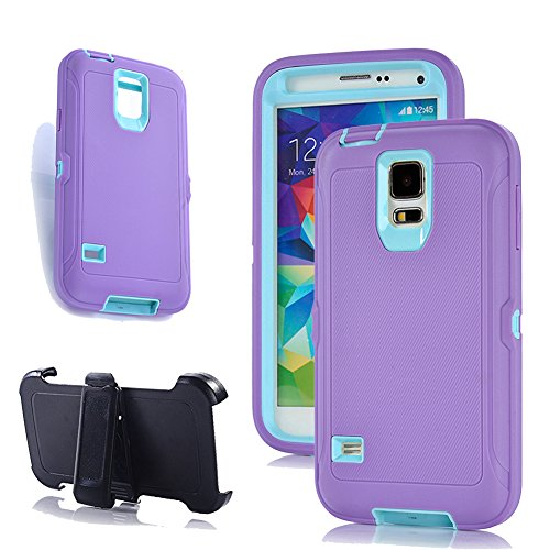 Galaxy S5 Cover, Harsel Tough Rubber Shock Absorbing High Impact Hybrid Military Duty Full Body Protective Built-in Screen Protector Case Skin w/Belt Clip for Galaxy S5 - Purple Light Blue