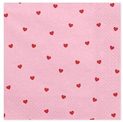 Party-Servietten JGA & Hochzeit Red Hearts rosa-pink & rot Tisch-Deko Junggesellinnenabschied Junggesellen-Abschied JGA-Party Valentins-Tag Accessoires Hochzeits-Deko Herzen (60 Servietten)