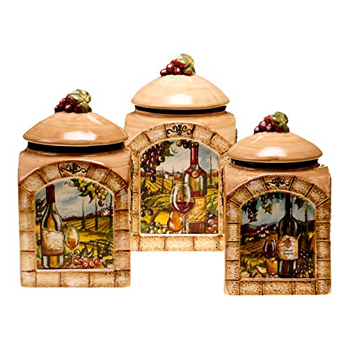 Unknown1 Tuscan View 3-Piece Ceramic Canister Set Brown Green Red Garden