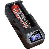 kraftmax  BC-1000 USB Akku Ladegerät für 18650 | 26650 | 14500 | 16340 | CR123 | 3,7V Lithium Akkus - Neueste Version mit Li-Ion Smart Charging