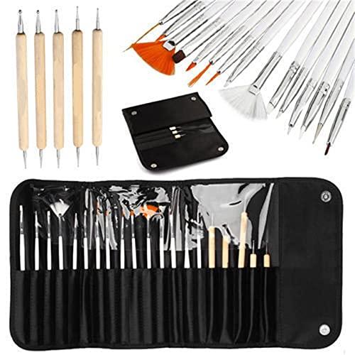 Lot de 20 pinceaux à ongles, 15 stylos à ongles blancs + 5 stylos à pointe en bois avec sac de rangement noir