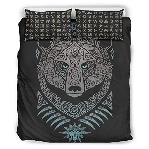 Go Go Grifendoor Colcha ligera y suave – Viking juego de cama de tres piezas 1 funda nórdica y 2 fundas de almohada lavable a máquina blanco 264 x 229 cm