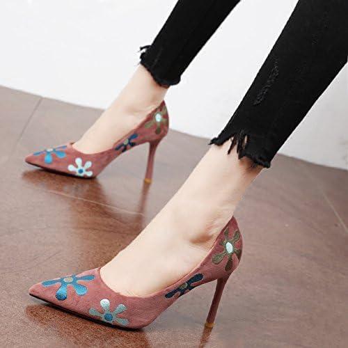 Xue Qiqi Court Court Court Schuhe Retro Girls High Heels und Edler Stickerei Blaumen und Vielseitige Licht - Feine Spitze mit Einzelne Schuhe  Bestellen Sie jetzt die niedrigsten Preise
