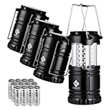 Etekcity 4 Pack Portable Outdoor LED Camping Lantern with 12 AA Batteries (Black, Collapsible) ポータブル LED キャンピング ランタン