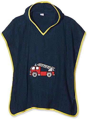 Playshoes kinder badstof capuchon poncho brandweer, praktische capuchon handdoek voor jongens en meisjes