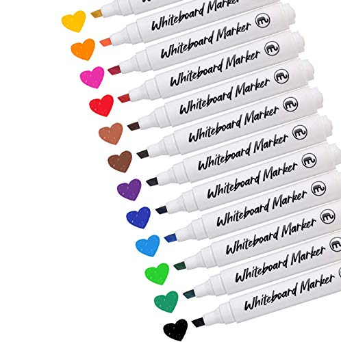 [12 Pack]Dry Erase Markers, DealKits Low-Odor Assorted Colors Whiteboard Markers Bulk for Kids, Classrooms Office Home Glassboard Dry Erase White Board Mirror Activity Workbook - Chisel Tip
