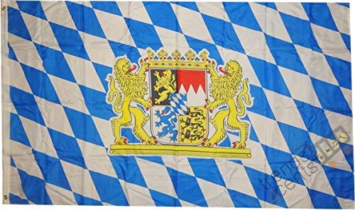 trends4cents Top Qualität - Flagge Bayern MIT LÖWENWAPPEN Bavaria Löwe Fahne, 250 x 150 cm, EXTREM REIßFEST, Keine BILLIG-CHINAWARE, Stoffgewicht ca. 100 g/m², sehr robust, extra Starke Messing-Ösen