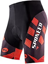 sponeed Cycling Men Shorts Padding Mountain Bike Road Triathlon Bicycle Compression Spandex Pants Chamois Padded US M Red