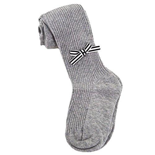 ABBY En automne et en hiver, Les enfants Collants Chaussettes de coton Les filles bébé jambières noeud papillon/gris-S