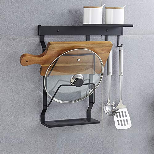 Multi-Purpose Pan Organizer Rack, Wall-mounted Punch-free Cutting Board Storage Rack Stainless Steel Kitchen Rack With Water Tray (Color : B)