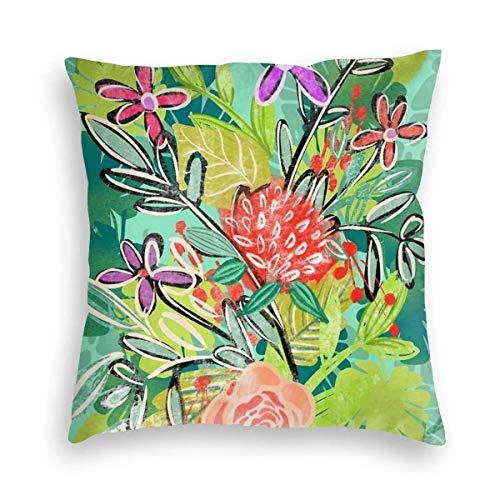 AEMAPE Funda de Almohada Suave Estilo Personalidad Flor Ornamental Moderna Patrón Creativo Funda de Almohada Cuadrada Decorativa Sofá Dormitorio Funda de cojín para Coche
