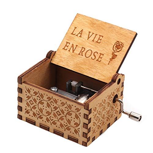 La Vie En Rose - Caja de música, DIY La Vie en Rosa grabada de madera, caja decorativa para regalos de Navidad pura y clásica caja de música