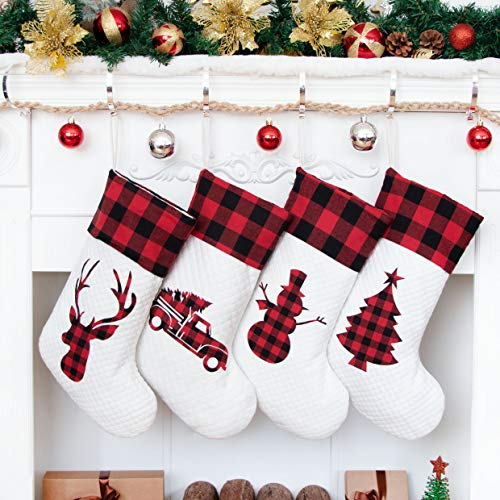 LUBOT Set of 4 Christmas Stocking(20inch) Silhouette Buffalo Red Plaid/Rustic/Farmhouse/Country Cotton Fireplace Hanging Xmas Stockings Decorations for Family Holiday Season Decor