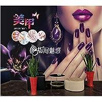 Iusasdz カスタム3D壁紙ファッションネイルアート装飾画レトロ手描き美容衣料品店ツーリング背景壁紙200X140Cm