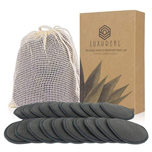 Cotons Demaquillants Lavables 20 Pcs, Luxureal Tampons Démaquillants Reutilisables en Bio Bamboo Triple Épaisseur Super Doux avec Sac à Linge pour Tout Type de Peau