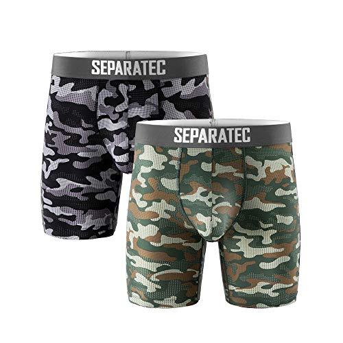 Separatec 2er Pack Retro Pants in Tarnanstrich, Langes Bein Sport Fitness und Enge Boxershorts für Männer, Sportliche Unterhosen aus Polyester, Retroshorts(Schwarz+Olivgrün, XL)