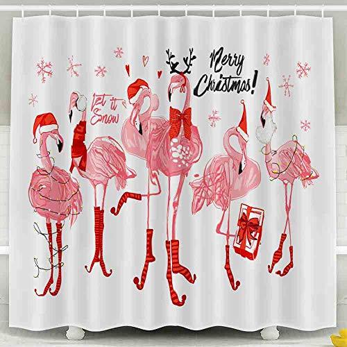 EMMTEEY Holloween Duschvorhang, 183,9 x 183,9 cm, wasserdichtes Design für Badezimmer-Dekor, Aquarell, niedlicher Weihnachtsmann-Duschvorhang, rosa Flamingo, Weihnachten & frohes neues Jahr