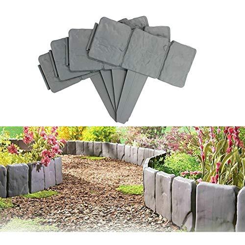 YSISLY Lawn Fence Stone Effect Edging Interlock Flower Bed Border Grass Edge Imitation Garden Decoration Fence Plant Bordering (20,Grey)