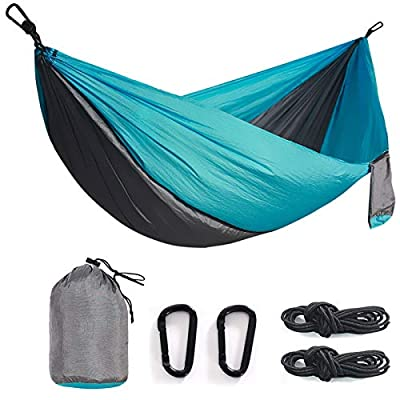 Double& Single Camping Hammock Nylon Portable Parachute Lightweight for Backyard, Hiking, Beach