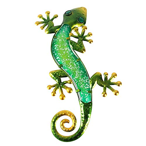 Liffy Metal Gecko Outdoor Wall Decor Lizard Garden Art Green Hanging Glass Decorations for Patio or Fence, 15.2 Inches Long
