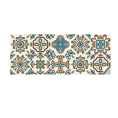 QOXEFPJZ cenefa adhesiva cocina Pegatinas de azulejos de cerámica de estilo europeo de 10 unids, etiquetas engomadas de la renovación de la pared de la cocina impermeables, a prueba de aceite y calcom