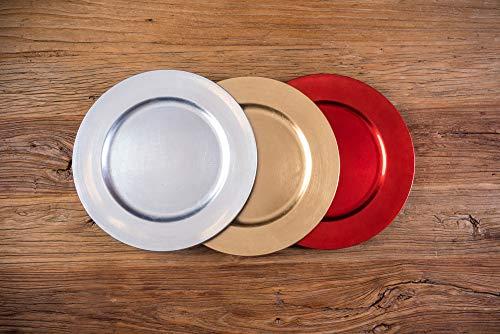 LOVERSpack Bajoplato Elegante Decorativo para Navidad, Bodas, Celebraciones. Colores; Plata, Oro, Rojo (Plata, 1)