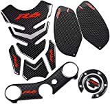 yamaha r6 tank pad - REVSOSTAR Real Carbon Fibre Gas Cap, Anti Slip sticker, Triple Tree Front End Upper, Top Clamp Decal Stickers, Tank Pad, Tank Protector for Yzf R6 (2008-2015), 4 Pcs Per Set