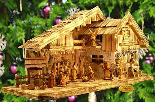 Krippenstall KA70ng-MFHO-ALP Weihnachtskrippe Ölbaum, Massivholz edel GEFLAMMT - mit großen PREMIUM-Krippenfiguren