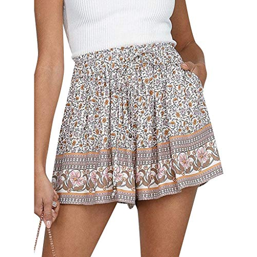 Sopzxclim Wide Leg Beach Shorts for Women Drawstring Elastic Waist Boho Print Shorts Loose Fit Lounge Summer Shorts Khaki
