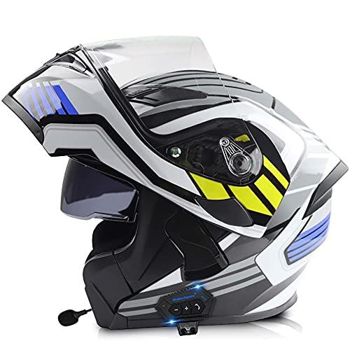 angroups Casco Modular de Moto con Doble Visera Flip Up Casco Bluetooth Integral Casco Moto Motocross Motocicleta Casco Scooter Certificación ECE para Hombre y Mujer, 57~66cm