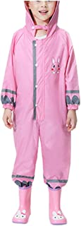 Gallity Kids One Piece Coverall Rainsuit Toddler Full Body Raincoat Waterproof Lightweight Hooded Rain Coats for Boys Girls 3-10 Years (5-7 Years, Pink)