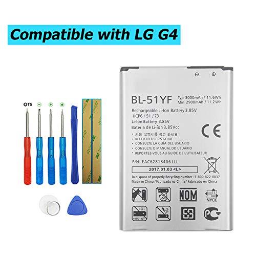 Upplus BL-51YF - Batería de Repuesto Compatible con LG G4 H810 H812 LS991 VS986 (2900 mAh, 3,85 V, con Kit de Herramientas)