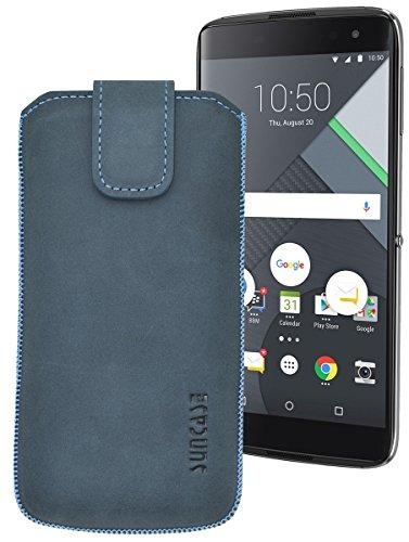 Suncase ECHT Ledertasche Leder Etui für BlackBerry DTEK 60 Tasche (mit Rückzugsfunktion) in pebble-blue
