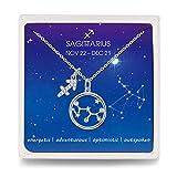 Qings Schütze Halskette 925 Silber Damen Sternzeichen Zodiac Kette Zirkonia Konstellation Anhänger, Hals-Schmuck Kette für Frauen Mädchen