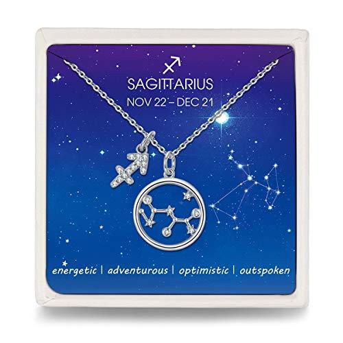 Qings Collana Segno Zodiacale Sagittario Argento Sterling Astrologia Costellazione Semplice Collane Regalo Compleanno per Ragazze