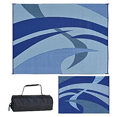 Reversible Mats 159123 Outdoor Patio/RV Camping Mat - Swirl (Blue/Black/Grey, 9-Feet x 12-Feet)