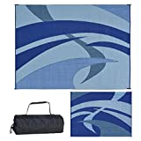 Reversible Mats 159123 Outdoor Patio / RV Camping Mat - Swirl (Blue/Black/Grey, 9-Feet x 12-Feet)