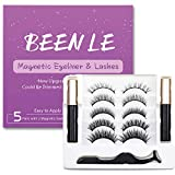 [2020 Upgrade] BEENLE 3D Magnetic Eyelashes Kit Magnetic Eyeliner,2 Tubes of Magnetic Eyeliner & 5 Pairs of 6 Magnets Magnetic Eyelashes,Natural Look,No Glue Needed