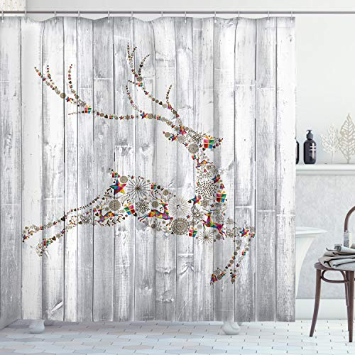Ambesonne White Washed Wood with Christmas Holiday Reindeer Fabric Shower Curtain