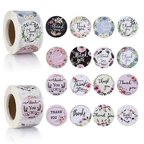 """1000 Pieces 1.5"""" Thank You Stickers Roll 16 Designs Thank You Labels Round Adhesive Stickers for Gifts, Baby Shower, Wedding, Birthday, Envelopes and Business Shop (1.5 Inch)"""