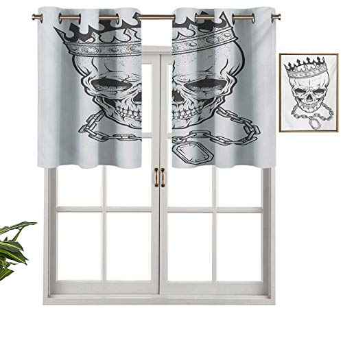 Hiiiman Insulated Thermal 100% Blackout Curtains Valance Sketchy Skull with Crown Hip Hop Street Style Necklace Chain Gem Image Print, Set of 1, 36'x18' for Bedroom with Grommets