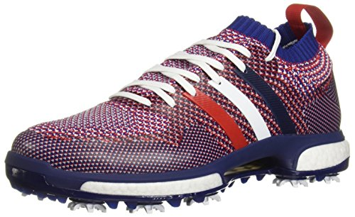 adidas Men's Tour360 Knit Golf Shoe, White/Night Sky/Scarlet, 7.5 M US