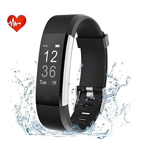 Nicksea Smart Bracelet Fitness Tracker mit Herzfrequenzmesser, Schrittzähler, Kalorienzähler, SchlafMonitor, Kamerasteuerung Armbanduhr Smart Watch für Android und IOS Smartphones (Schwarz)