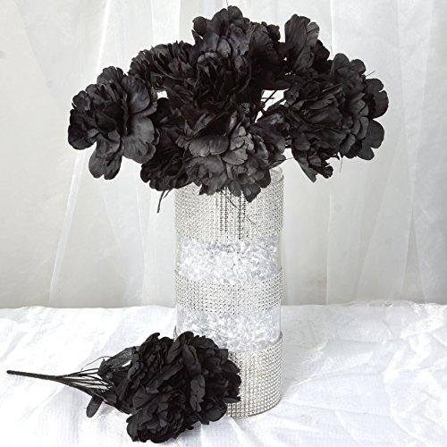 BalsaCircle 60 Black Silk Peony Flowers - 12 Bushes - Artificial Flowers Wedding Party Centerpieces Arrangements Bouquets Supplies