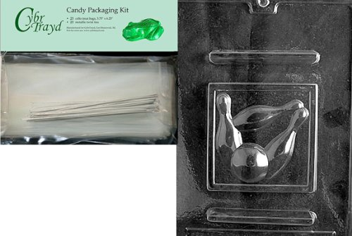 Cybrtrayd mdk25s-s054Bowling Sport Schokolade Candy Form, inkl. 25Cello Taschen und 25silber Twist Ties