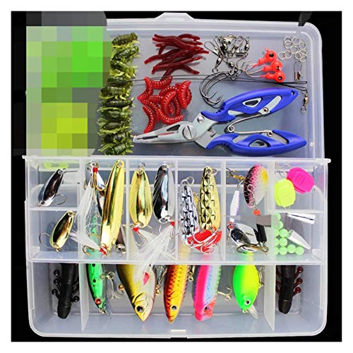 XIAOFANG Fangxia Store 101 UNIDS Lure Kit Set Spinner CRANKBAIT Minnow Popper VIB Soft Cuchilla Duro DE CANTURA CAITAS DE Pesca DE Pesca Accesorios DE APADORES DE Pesca Accesorios (Color : Green)