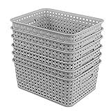 Zerdyne Cesta de almacenamiento tejida de plástico, paquete de 6, gris claro