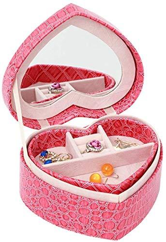 Joyero con forma de corazón y estuche de exhibición con espejo para pendientes, reloj, collares, pulseras, organizador, caja de almacenamiento de joyas para niñas y mujeres, color rojo rosa