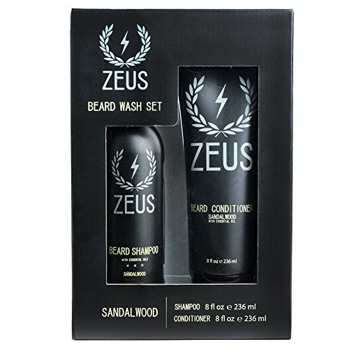 ZEUS Beard Shampoo and Beard Conditioner Set for Men - (8 oz. Bottles) (Scent: Sandalwood)
