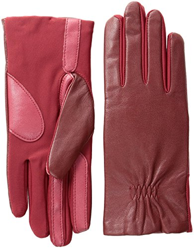 isotoner Women's Stretch Leather Gloves Fleece Lined with Smart Touch Technology, Really Red, Small/Medium